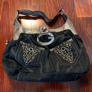 Guess Denim Shoulder Purse Medium